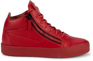 Giuseppe Zanotti Leather Double-Zip Mid-Top Sneakers