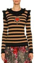 Dolce & Gabbana Striped Crochet-Trim Sweater, Black/Brown