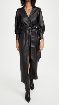 Alice + Olivia Zarita Vegan Leather Dress with Tie