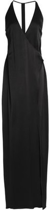 Halston Wrap-effect Crepe Gown