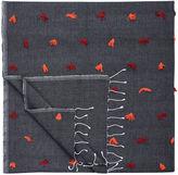 One Kings Lane Vintage Moroccan Berber Blanket w/ Orange Tufts