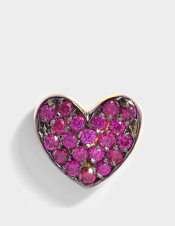 Anton Heunis Heart Mono Earring in Ruby and 14K Gold