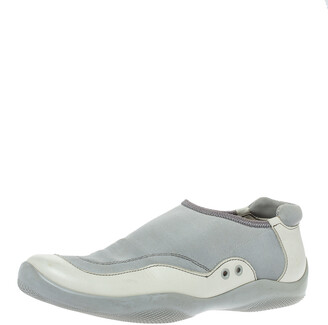 Prada Sport Cream/Grey Canvas and Leather Slip On Sneakers Size 41.5