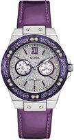 GUESS Women's Purple Leather Strap Watch 39mm U0775L6