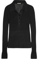 Bottega Veneta Pointelle-knit Ribbed Cotton Sweater - Black