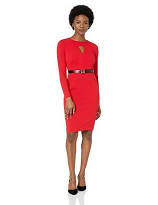 Calvin Klein Women's Petite Long Sleeve Belted Sheath with Cut Out Front Dress