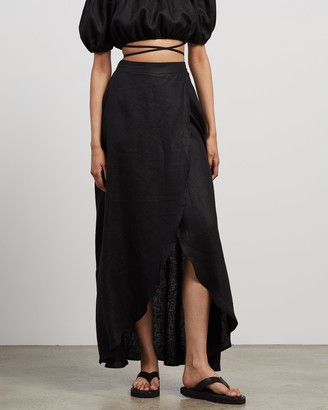AERE - Women's Black Maxi skirts - Split Maxi Skirt - Size 12 at The Iconic