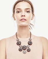 Ann Taylor Jeweled Flower Statement Necklace