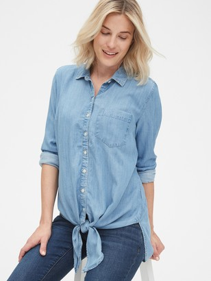 Gap Maternity Tie-Front Shirt in TENCEL