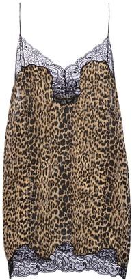 Saint Laurent Leopard-print lace and silk minidress