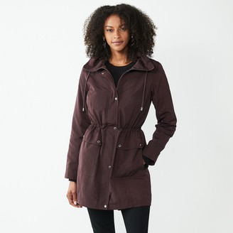 Nine West Women's Hooded Rain Anorak Jacket