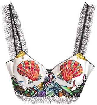 Versace Tresor Pinstripe Printed Silk Bralette Top