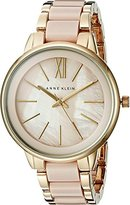 Anne Klein Women's AK/1412BMGB Gold-Tone and Blush Pink Resin Bracelet Watch