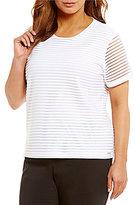 Calvin Klein Plus Tonal Stripe Knit Top