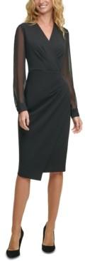 Tommy Hilfiger Sheer-Sleeve Asymmetrical Dress