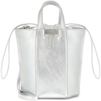 Off-White Small metallic leather bucket bag