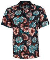 Topman Black Sunflower Print Short Sleeve Casual Shirt