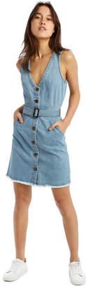 Missguided Blue Denim Plunge Dress With Belted Waist