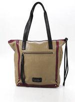 Nicole Miller Tan Brown Purple Black Leather Zip Top Tote Handbag
