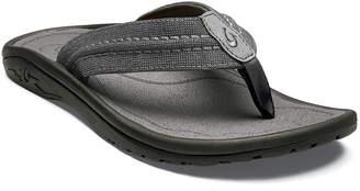 OluKai Men's Hokua Mesh Faux-Leather Flip-Flop Sandals, Clay/Charcoal
