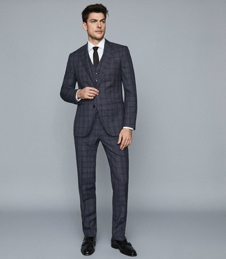 Reiss Bagley - Modern Fit Checked Trousers in Indigo