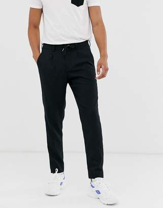 Selected tailored tapered trouser in navy texture