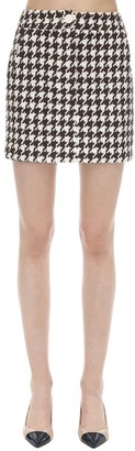 ROWEN ROSE Exclusive Houndstooth Tweed Mini Skirt