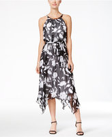 Sangria Sleeveless Belted Chiffon Midi Dress
