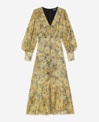 The Kooples Buttoned long dress with golden print