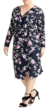 Rachel Roy Plus Floral Print Faux Wrap Dress