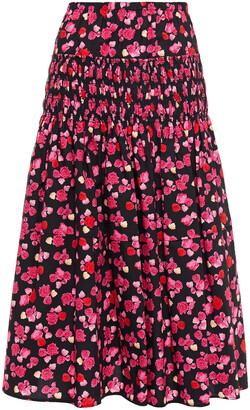 Kenzo Shirred Floral-print Cotton-poplin Midi Skirt