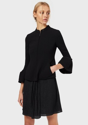 Emporio Armani Double Wool, Crepe Jacket With Bell Cuffs
