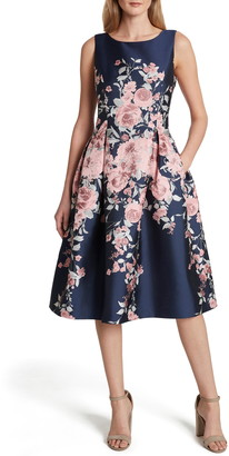 Tahari Print Fit & Flare Sleeveless Dress