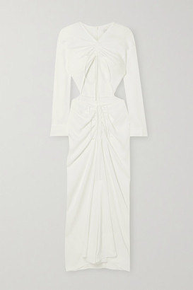 CHRISTOPHER ESBER Ruched Cutout Stretch-jersey Maxi Dress - Cream