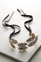 Anthropologie Gilded Leaf Crown Headband