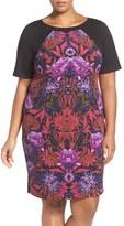 Adrianna Papell Plus Size Women's Print Colorblock Sheath Dress