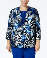 Alfred Dunner Plus Size High Roller 3/4-Sleeve Printed Jacket