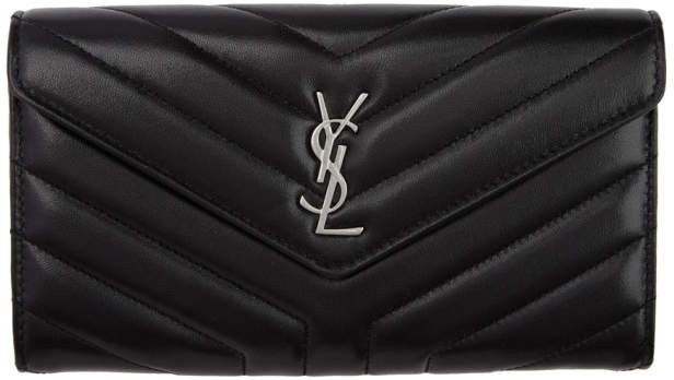Saint Laurent Black Large Loulou Flap Wallet