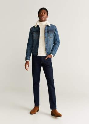 MANGO MAN - Faux shearling lining jacket dark blue - S - Men