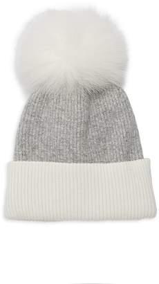 Adrienne Landau Fox Fur Pom-Pom Colorblock Beanie