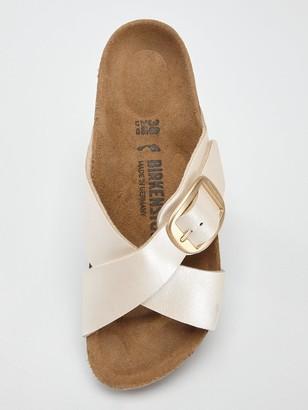 Birkenstock Sienna Big Buckle Pearl Flat Sandals - Pearl White