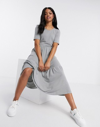 JDY cotton tiered midi dress in grey