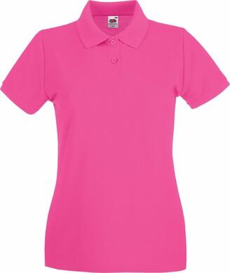 Fruit of the Loom Ladies Lady-Fit Premium Short Sleeve Polo Shirt (L) (Fuchsia)