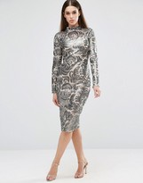 Club L Brocade Sequin High Neck Detail Midi Dress