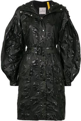 Moncler Floral-Embossed Belted Raincoat