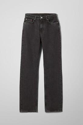 Weekday Voyage High Straight Jeans - Black