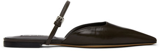 Jil Sander Brown Open Back Ballerina Flats