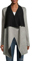 Neiman Marcus Reversible Long-Sleeve Open-Front Cardigan, Gray/Black