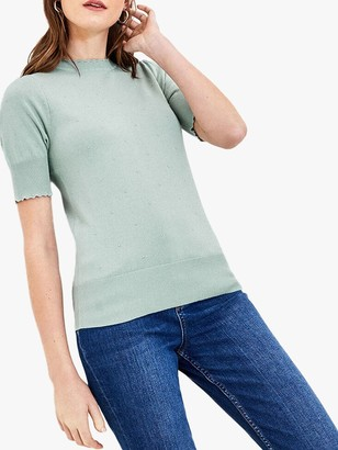 Oasis Pippa Pointelle Scallop Detail Jumper, Pale Green