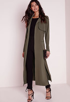 Missguided Maxi Belted Utility Duster Coat Khaki